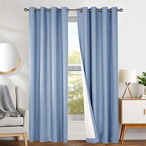 jinchan Bedroom Thermal Blackout Curtains Blue Energy Saving Lined Drapes for Living Room Bedroom 84 Inch Length Grommet Top Window Curtain Sold Individually