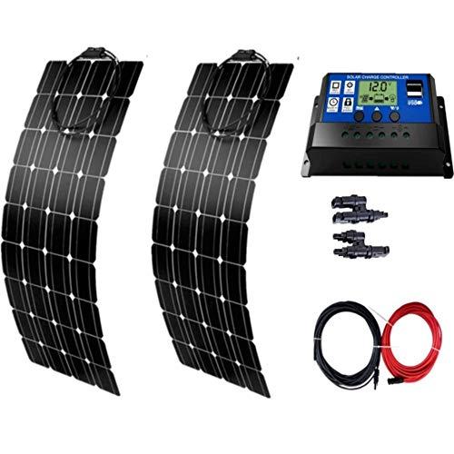 AUECOOR 2 Stück 100 W Solarpanel semi-flexibel 200 Watt Solarsystem Photovoltaik Solarpanel Kit 30 A LCD Controller für 12 V Wohnmobil Boot Off-Gitter
