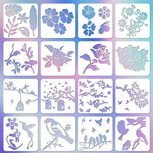 Meetory 16 Stücke Vögel Schablonen und Blume Schablonen, Wiederverwendbare Schablonen von Vögeln und Blumen Vogel Malerei Schablone für DIY Handwerk Farbe auf Wand Holz DIY Home Dekoration