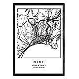 Nacnic Drucken Stadtplan Nizza skandinavischen Stil in