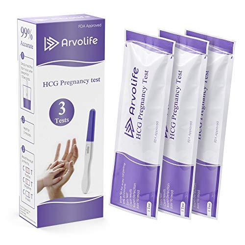 Arvolife Early Result Pregnancy Test 3 Count Rapid Detection Pregnancy Test Sticks Kit Individually Sealed hCG Urine Midstream Tests Strips 3 hCG Tests Kits