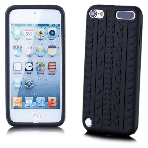 Apple iPod Touch 5 / 5G | iCues Reifen TPU Case Schwarz | [Display Schutzfolie Inklusive] Reifenprofil Jungs Männer Silikon Gel Schutzhülle Hülle Cover Schutz