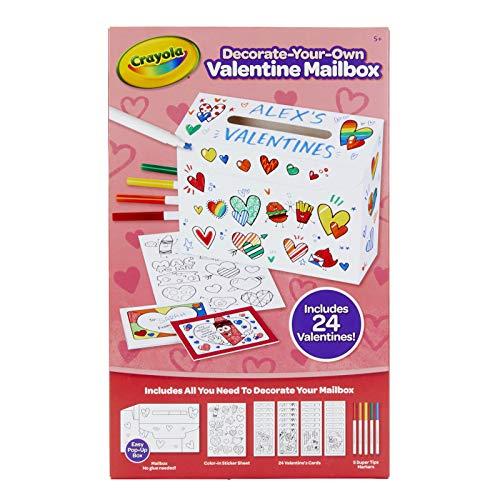 Crayola DIY Valentine Box with 24 Valentines Day Gift for Kids, Craft