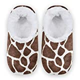 Naanle Animal Print Giraffe Women's Closed Back House Slippers Memory Foam Slippers Comfy Slippers Indoor Outdoor Bedroom Shoes Fuzzy Fleece Warm Home Slippers with Anti-Slip Rubber Sole Brown