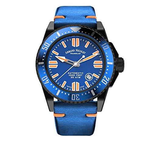 Orologio da Uomo Armand Nicolet Automatico JSS Blu da Sub Impermeabile 300M con Cassa Nero DLC A480HBN-BU-P0480BO8