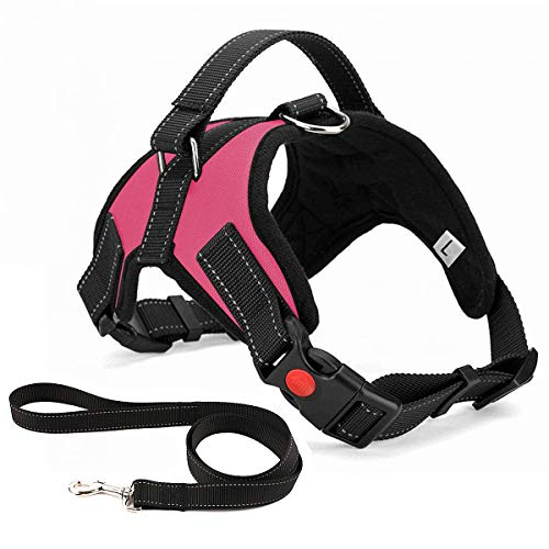 Musonic No Pull Dog Harness Breathable Adjustable Comfort Free Leash Included for Small Medium Large Dog Best for Training Walking XS Pink
