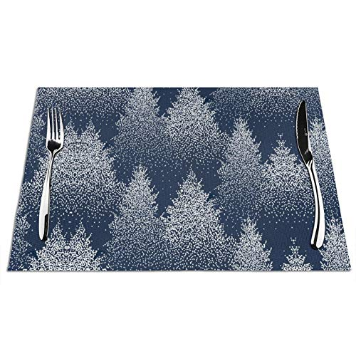 Forest Placemats Set of 6 Pine Valley Placemats White Pine Tree Coniferous Winter Placemats Winter Nature Dark Blue Night Placemats Nature Jungle Landscape for Heat-Resistant PVC Woven Placemats