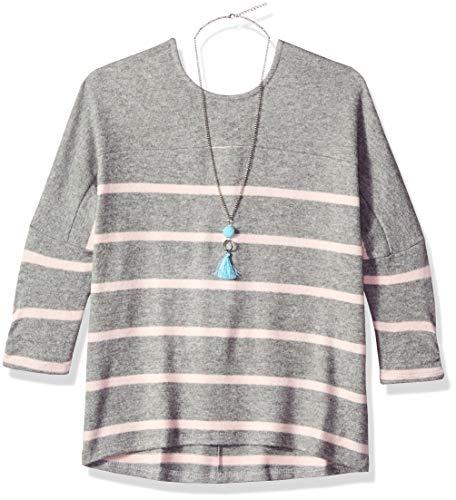 Amy Byer Girls' Dolman Sleeve Shirt Fashion Top, Grey/Rose Stripe/Heather Grey, Begonia, M