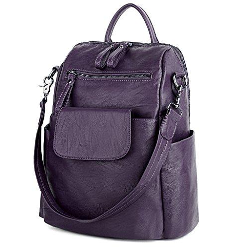 UTO Damen Backpack Purse PU gewaschen Leder Ladies Rucksack Schultertasche lila