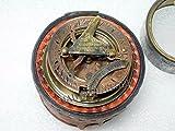 Sonnenuhr Kompass mit Kompass, Maritim, nautisch, antikes Messing, Vintage-Stil