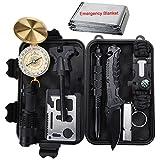 Outdoor Survival Kit 11 in 1, Emergency Survival Gear Tool mit Messer, Kompass, Notfall Decke, Feuer...