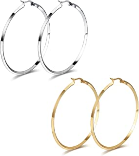 MG Jewelry Fashion Women's Stainless Steel Round Large Size Big Hoop Earring Gold Plated/, 57mm(22.4