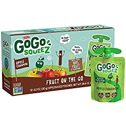 GoGo squeeZ Applesauce, Apple Cinnamon, 3.2 Ounce (12 Pouches), Gluten Free, Vegan Friendly, Unsweet