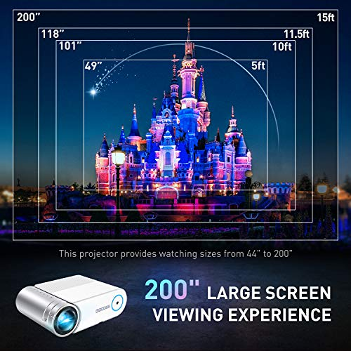 Mini Projector, GooDee Portable HD Video Projector 200' Display 1080p Supported LCD Home Movie Projector Compatible with TV Stick HDMI VGA Av USB Micro SD