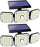 Solar Lights Outdoor 3 Heads, 112 LED Solar Security Light with Motion Sensor, Solar Powered Floods Lights, 360° Rotatable IP65 Waterproof Illumination Motion Lights with 270° Wide Angle - 2Pcs