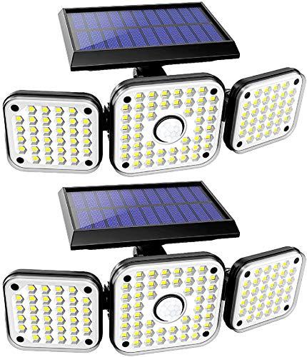 Racokky Solarlampen für Außen mit Bewegungsmelder, Solarleuchten mit 112 LEDs, Sicherheitsbeleuchtung, IP65 Wasserdicht Wandleuchte, 270 ° Weitwinkelbeleuchtung für Innenhof, Garageneingang(2 Stück)