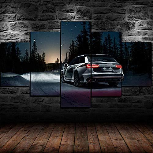 13Tdfc Moderne Wandbilder XXL Wohnzimmer Wohnkultur 5 teilige leinwandbilder XXL Kreatives Geschenk wanddeko Gerahmte RS6-Tarnung Farbe Auto in der Nacht HD-Druckplakat