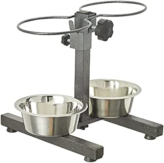 PET Zone India Stainless Steel Double Diner Bowl Anti Skid Adjustable Dog Bowl 900ml (Random Colours) Small