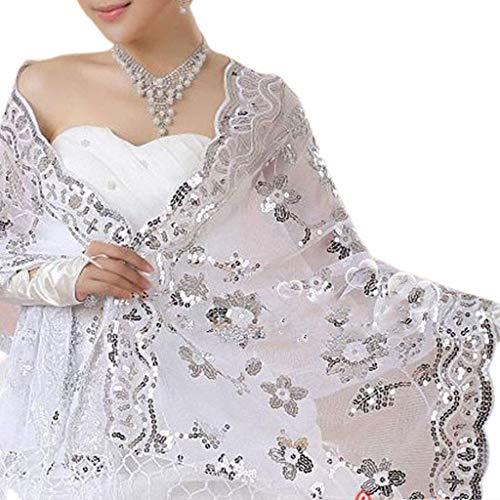 Mantón de las mujeres, nuevo vestido de novia de la novia Mantón de Cheongsam de las mujeres Bordado de encaje blanco Lentejuelas Mantones largos