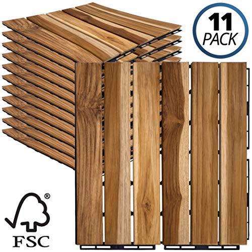 Mammoth Sustainably Sourced Solid Teak Wood Tools Free Assembly Interlocking Deck Tiles, Water Resistant Outdoor Patio Pavers or Composite Decking Flooring, Pack of 11 (11 SQFT) (Stripe)