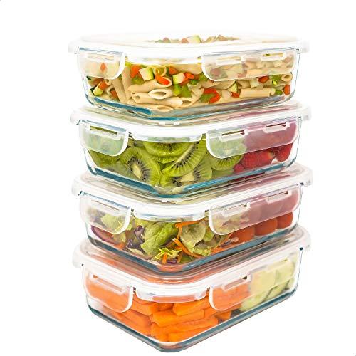 LG Luxury & Grace Set 4 Contenitori in Vetro 1000 ml. Contenitori Ermetici per Alimenti e Sicuri per Microonde, Forno, Lavastoviglie e Congelatore. Senza BPA.