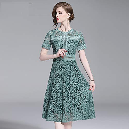 QUNLIANYI Abendkleid Kleid Grüne Spitze Nähen Aushöhlen Kleid Frauen Kurzarm Oansatz Hohe Taille...