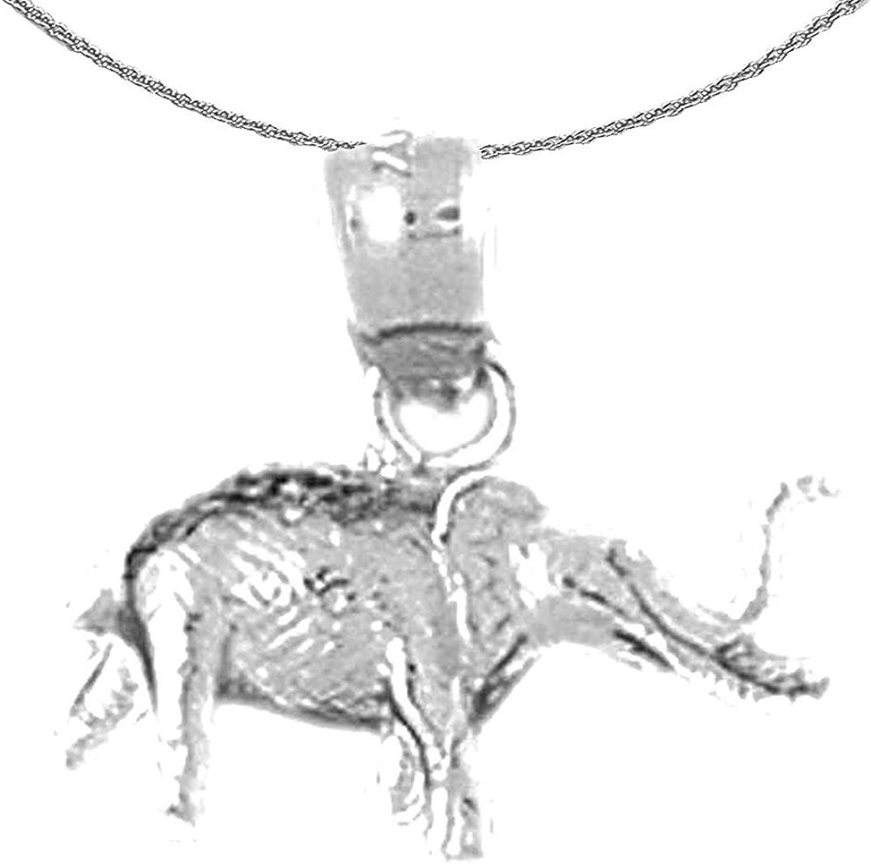 Jewels Obsession Manufacturer OFFicial shop Gold 3-D Elephant 14K White 3D Necklace Fashionable