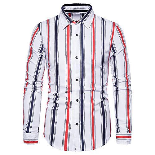 ZZOU Men's Fashion Polo Shirts Casual T Shirt Long Sleeves Slim Fit Top Checked Shirt Cotton Plaid Shirt Business Casual Dress Stylish Classic Shirt Mens Designer Striped Plain Check Shirt
