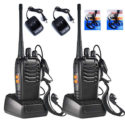 Nestling 2PCS Walkie Talkies Rechargeable Walkie Talkie Long Range Two-Way Radio 16CH UHF 400-470Mhz Walkie Talkies Li-ion Battery and Charger