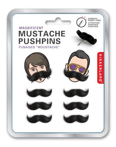 Kikkerland Mustache Push Pins, Set of 8 (ST27) Photo #2