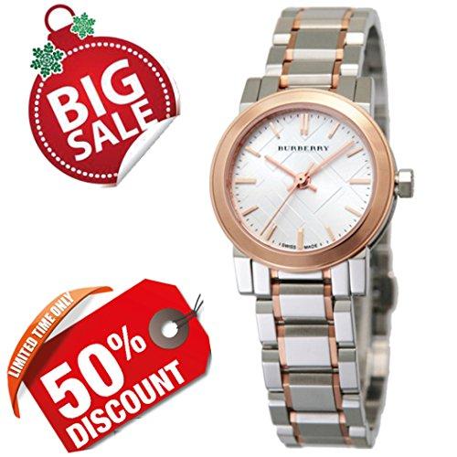 Burberry mujer reloj redondo de la ciudad Suiza de lujo plateado de acero inoxidable FECHA Dial Oro rosa/banda de acero inoxidable 26mm BU9205