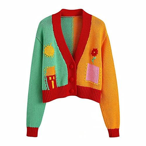 DJMYNVKD Mujeres con cuello en V Color a juego Crochet Floral Knitting Suéter Hembra Cardigans Top (Color : Green, Size : Medium)