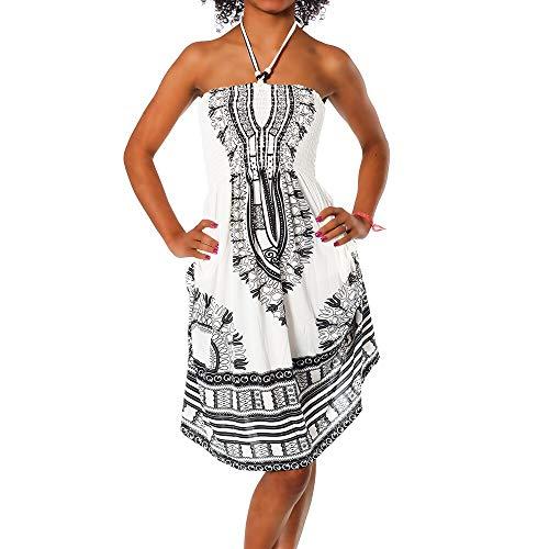 Diva-Jeans Damen Sommer Aztec Bandeau Bunt Tuch Kleid Tuchkleid Strandkleid Neckholder H112, Farbe: F-022 Schwarz, Größe: Einheitsgröße