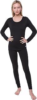 مجموعة ملابس داخلية حرارية للنساء تشكل طبقة الاساس لارتداء الملابس تضم بلوزة وسروال ضيق مصنوعين من الصوف الصناعي