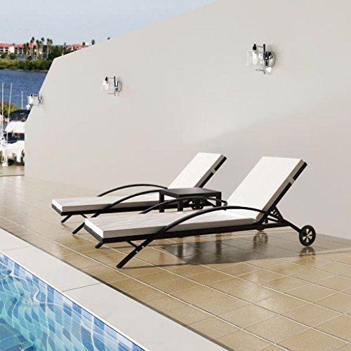 Xinglieu Ensemble de 3 chaises longues de jardin en rotin synthétique Noir