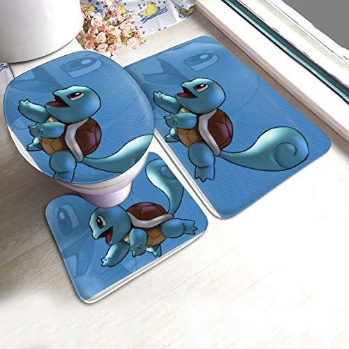 FETEAM Juego de Alfombrillas de baño de 3 Piezas Squirtle Antideslizante Alfombra, Alfombrilla de Contorno y Cubierta De Tapa 40X60cm