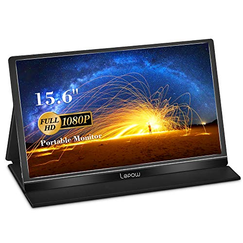 Portable Monitor - Lepow 15.6 Inch Full HD 1080P USB Type-C Computer Display IPS Eye Care Screen with HDMI Type C Speakers for Laptop PC PS4 Xbox Phone Included- Black