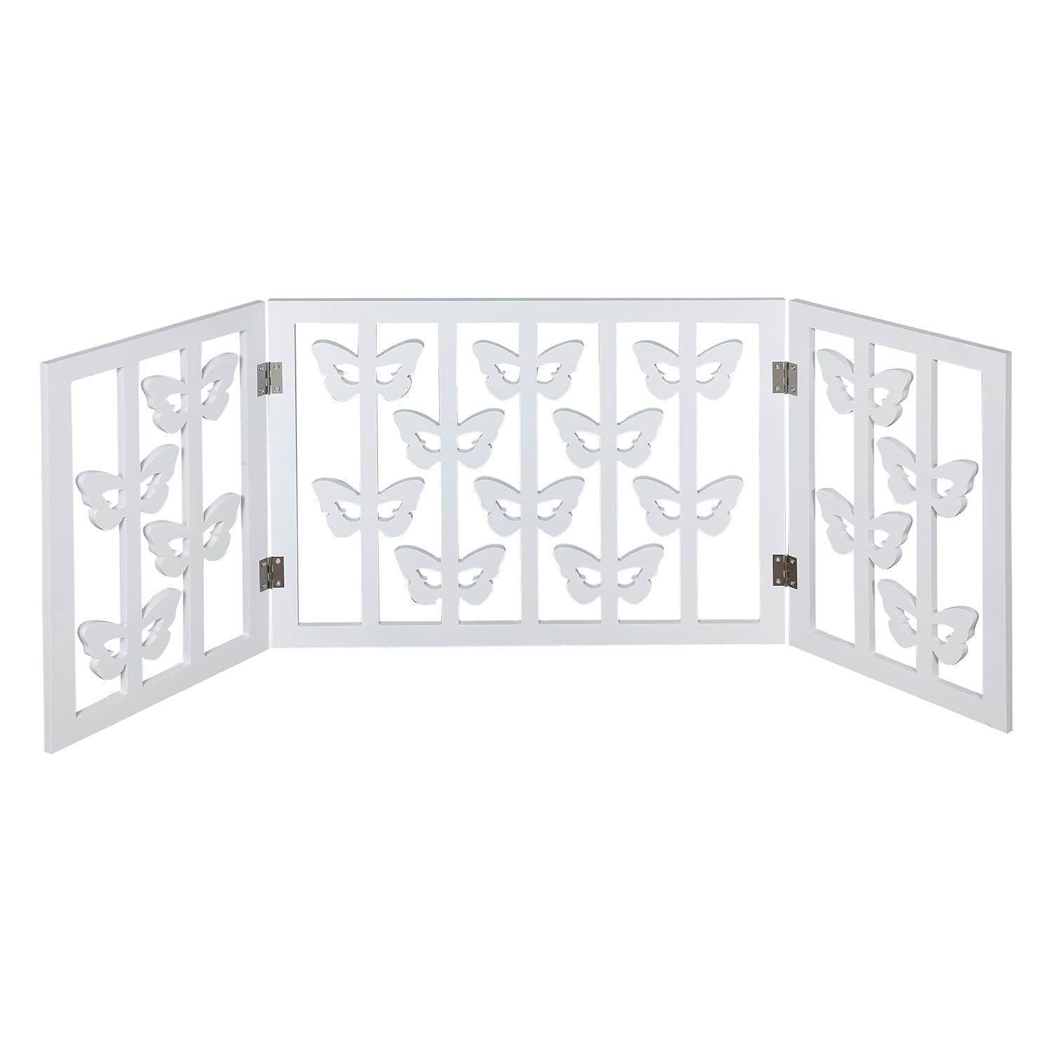 Indoor/Outdoor Solid Wood Butterfly Design Freestanding Foldable Adjustable 3-Section Pet Gate