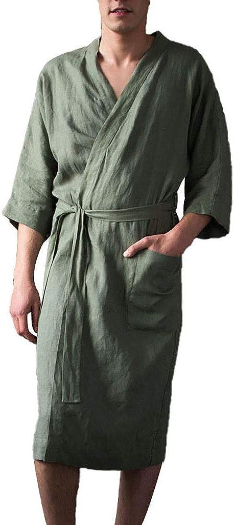 Mens Fleece Solid Colored Robe Hooded Fashion Plush Collar Long 40% OFF Cheap Sale Litetao