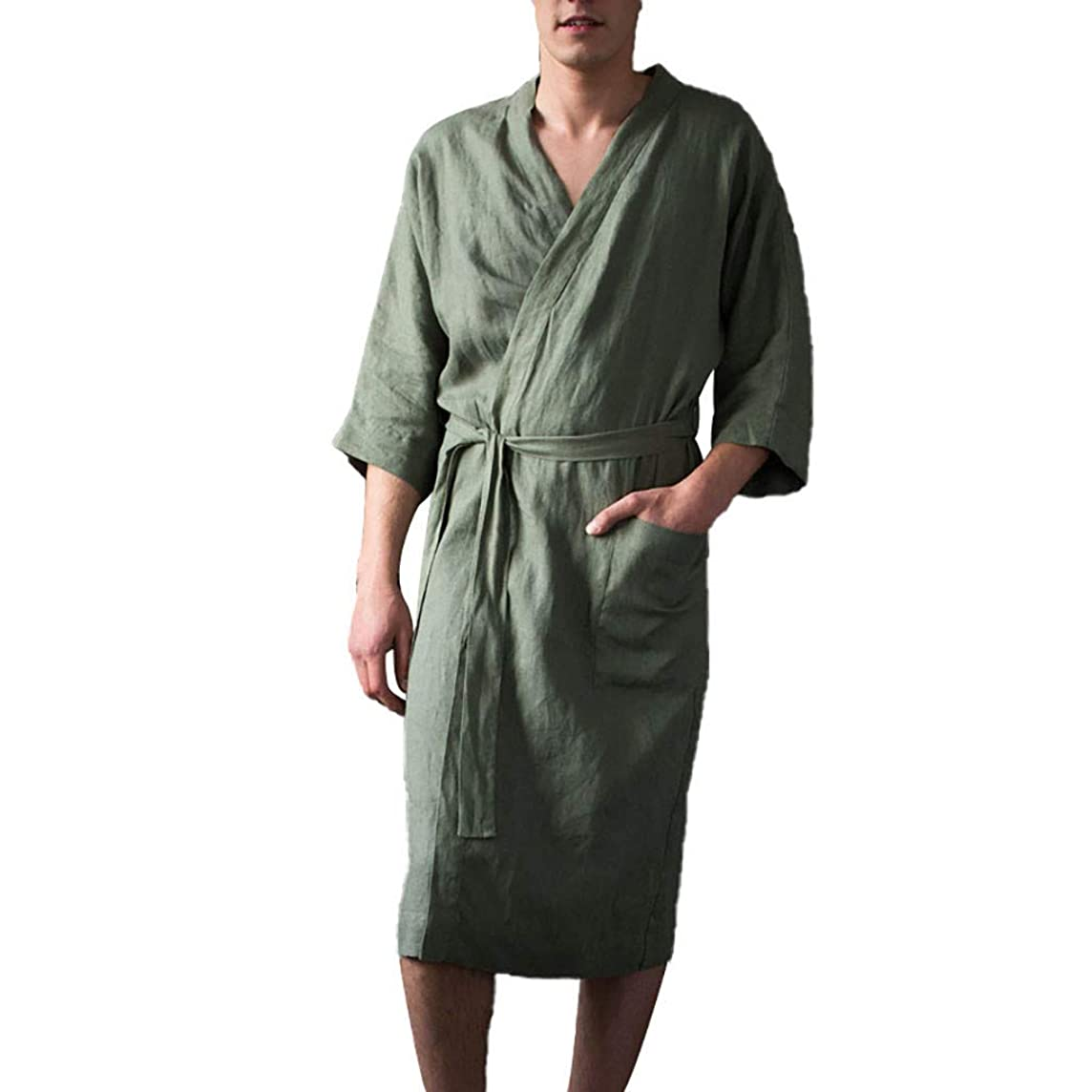 Mr.Macy Men's Short Sleeved Long Bathrobe Home Clothes Solid Color Linen Pajamas Robe