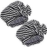 2 Stück Duschhauben Wasserdichte Streifen Badekappen Bowknot Duschhaube für Frauen Mädchen, Schwarz und Weiß