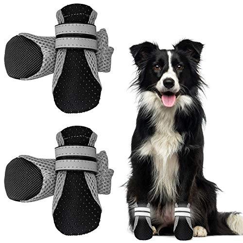 WELLXUNK® Botas para Perros, Respirable Zapatos Antideslizantes para Perros, Mascota Perro Botas para Perros Medianos y Grandes (4pcs) (Negro)