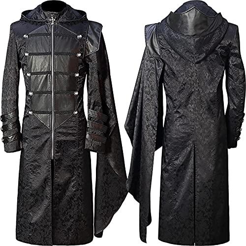 Chaqueta steampunk para hombre, estilo gótico, traje de esmoquin vintage para Halloween, chaqueta victoriana, uniforme de pirata medieval, vikingo, renacentista, esmoquin formal
