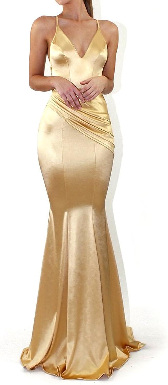 Là Vestmon Women's Long Sexy Backless Pencil Formal Bodycon Dress