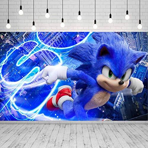 Telón de fondo para fotografía de Sonic The Hedgehog, para recién nacido, baby showers, niños, feliz, mesa, banner para fiestas, suministros de vinilo, 1,5 x 0,9 m, para fotomatón GM-18