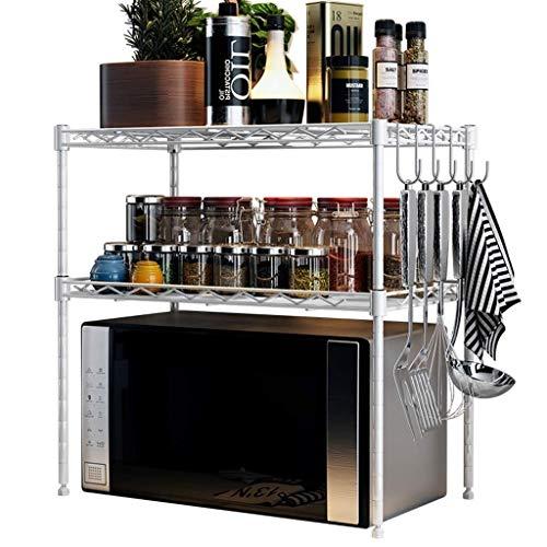 DUDDP rangement cuisine Casiers Rack Espace Salon Support étagère de Cuisine Four à Micro-Ondes Propre Support de Rangement étagère Rack de Stockage Égouttoir (Color : Silver, Size : 55 * 30 * 55CM)