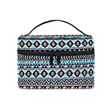 HaJie - Bolsa de maquillaje de gran capacidad, diseño tribal geométrico azteca de viaje, portátil, bolsa de almacenamiento de artículos de tocador, bolsa de lavado para mujeres y niñas