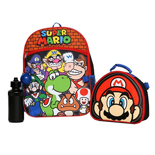 Boys 4PC Super Mario Licensed Backpack and Lunch Set
