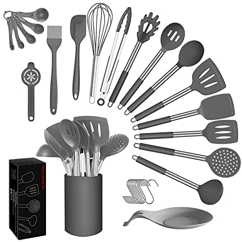 Kitchen Utensils Set Silicone Cooking Utensils - ADINC 30pcs Non-stick Heat Resistant Silicone Spatula Spoons Whisk Tongs Stainless Steel Handle Cookware with Holder - Grey (BPA Free Non Toxic)