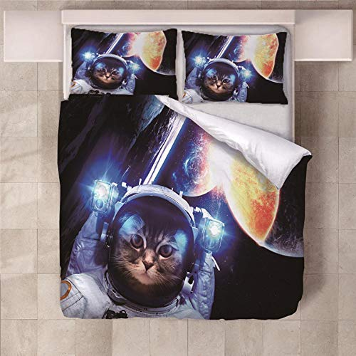 PERFECTPOT Double Duvet Covers Set Robot Cat Bedding Quilt Cover with 2 Pillowcases in Polyester 1 Quilt Cover with Zipper Closure for Children Kids Teens Girls, 200x200cm